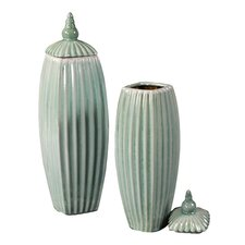 Large Ribbed Ceramic Vase with Lids in Tiffany Blue Glaze (Set of 2)