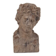 Ancient Roman Old World Male Ceramic Bust Statue