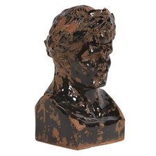 Rustic Ceramic Glazed Ancient Roman Male Bust Statue