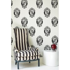 Barbara Hulanicki Flock Antoinette Wallpapera in Black / White