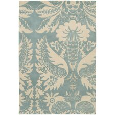 Tufted Pile Powder/Cream Damask Rug