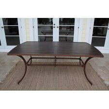 Outdoor Slatted Aluminum Rectangular Dining Table