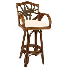 "Cancun Palm Indoor Swivel Rattan 30"" Bar Stool in Antique Finish"