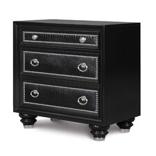 Onyx 3 Drawer Nightstand