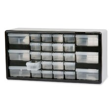 "Stackable Cabinet, 26 Drawers, 20""x6-3/8""x10-11/32, Black/Gray"