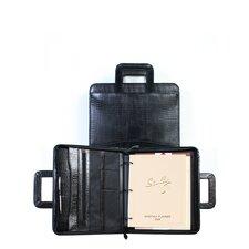 Lizard Leather Zip Binder With Drop Handles in Black