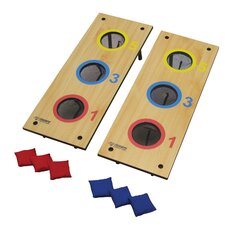 2 in 1 3 Hole Bag Toss and 3 Hole Washer Toss Game Set