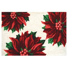 Accents Seasonal Three Poinsettias Novelty Rug