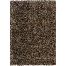 Luxury Shag Jet Black/Tan Rug