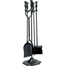 4 Piece Metal Fireplace Tool Set With Stand