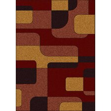 Bella Mod Block Red/Brown Rug