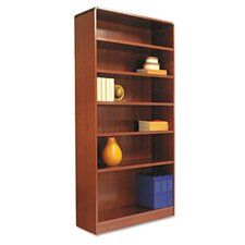 Radius Corner Bookcase, Finished Back, Wood Veneer, 6-Shelf, 36x12x72, Cherry