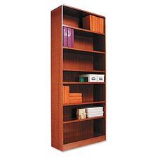 Radius Corner Bookcase, Finished Back, Wood Veneer, 7-Shelf, 36x12x84, Med. Oak