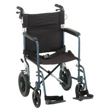 "19"" Lightweight Aluminum Transport Chair with Hand Brake and Swing Away Footrest"