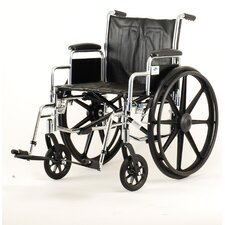 Bariatrics Wheelchair with Detachable Arm, Swing Away Footrest, and Black Vinyl Upholstery