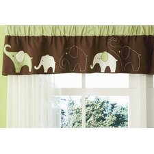 Green Elephant Rod Pocket Tailored Curtain Valance