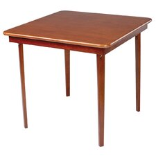 Straight Edge Wood Folding Card Table in Cherry