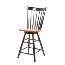 "Madison Park 24"" Spindleback Swivel Counter Stool in Black/Cherry"