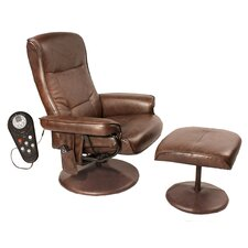 Relaxzen Leisure Reclining Heated Massage Chair with Ottoman