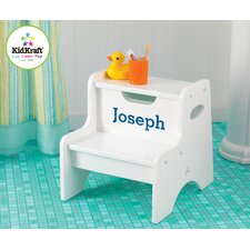 Personalized Two Step Stool in White