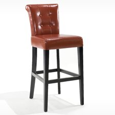 "Urbanity Sangria 26"" Tufted Leather Barstool in Burnt Sienna"