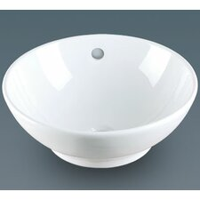 Round Ceramic Vessel Bathroom Sink with Overflow