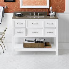 "Neo-Classic 42"" White Newcastle Vanity and Quartz Top Set"