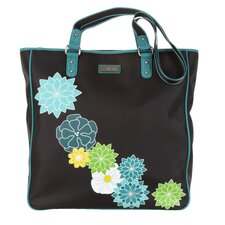 Nylon City Tote in Black with Teal Trim