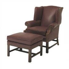 Chippendale Leather Chair and Ottoman