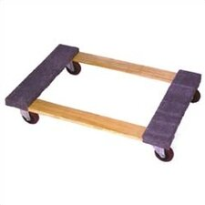 "Open Deck Wood Dolly with 3"" Casters and Carpet Ends"