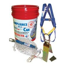 Compliance-In-A-Can™ (3 Point Harness, 50' Rope Lifeline, Snap Hook, Rope Adjuster, Shock Absorbing Lanyard & Webstrap Sling)