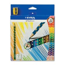 Slim Colored Pencils, Slim, 3.3mm, Non-Toxic, 24/ST, Ast