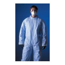 ProShield® Blue Coverall With Zipper Front, Attached Hood, Skid Resistant Boots, And Elastic Wrists And Face