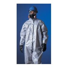 Large Gray Tychem® CPF2 Coverall With Zipper Front Attached Hood And Boots And Elastic Wrists And Face
