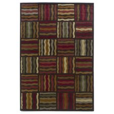 Lifestyles Mocha Geometric Waves Rug