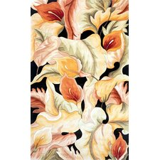 Catalina Black Calla Lillies Rug