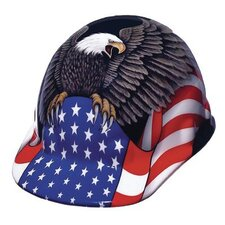 SUPEREIGHT® Class E, G or C Type I Thermoplastic Hard Hat With 3-R Ratchet Suspension And Spirit Of America Graphic
