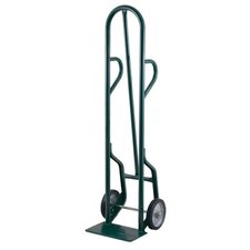 "34T Series Dual Handle Continued Tall Steel Hand Truck With 8"" Mold-On Rubber Wheels"