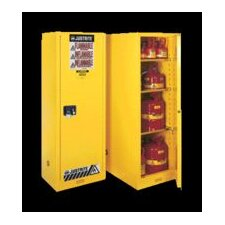 "X 23 1/4"" X 34"" Yellow 55 Gallon Deep Slimline Sure-Grip® EX Safety Cabinet With 1 Self-Closing Door And 3 Shelves"