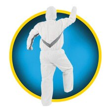 White KleenGuard™ A30 Breathable Splash And Particle Protection Coverall With Zipper Front And Elastic Back, Wrists, Ankles And Hood (25 Per Case)