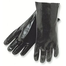 "Economy Dipped PVC Gloves - 11"" gauntlet interlock lined smooth fini"