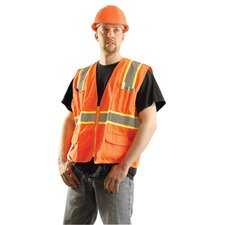 "Hi-Viz Orange Polyester Surveryor Style Vest With Two-Tone 2"" Reflective Striping, Zipper Front Closure, Large Arm Hole And Front Pockets"