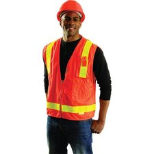 Large Orange OccuLux® L'Orange Surveyor's Vest With 13 Pockets And Zipper