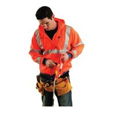 Orange Hi Viz Wicking Polyester Hooded Sweatshirt With Zippered Front And Elastic Cuffs And Waistband