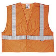 "Fluorescent Orange Luminator Class II Tear-Away Polyester Mesh Safety Vest WIth 2"" Silver Reflective Striping And Velcro Closure"