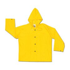 Yellow 0.28 mm Nylon Rain Jacket With Welded Seams, Storm Flap Over Snap Front Closure, Attached Drawstring Hood, Snap Wrists, Plain Back, No Pocket And s
