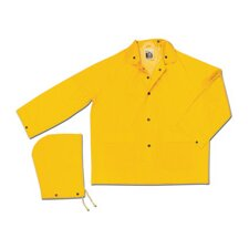 Yellow Classic 0.35 mm Polyester Rain Jacket With Welded Seams, Storm Flap Over Snap Front Closure, Detachable Drawstring Hood, Snap Wrists, Plain Back, 2 Patch Pockets With Flap And s