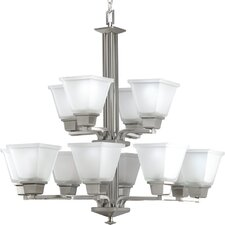 North Park Twelve Light Two Tier Chandelier in Brushed Nickel