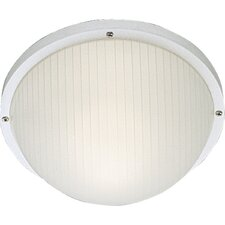 Polycarbonate Round Incandescent 1 Light Outdoor Flush Mount