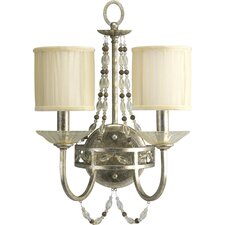 Chanelle Two Light Wall Bracket in Antique Silver